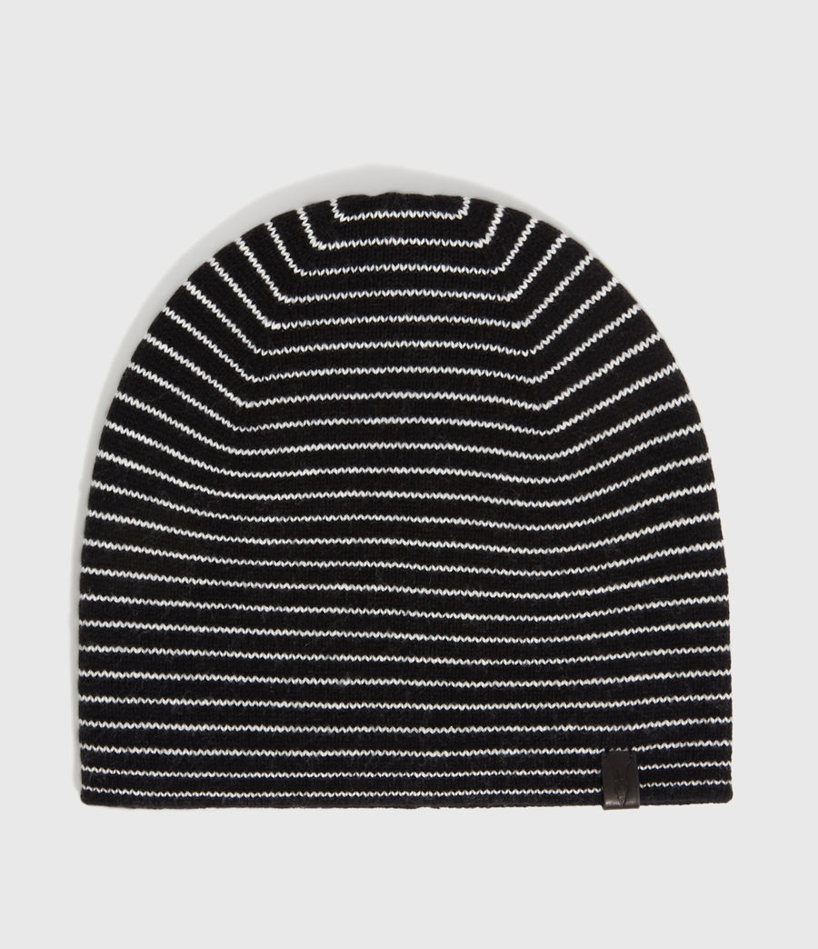 Mens Reversible Stripe Beanie (black_chalk) - Image 1