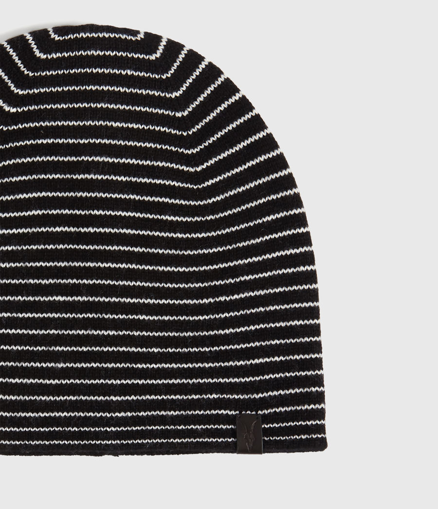 Men's Reversible Stripe Cashmere Blend Beanie (black_chalk) - Image 3