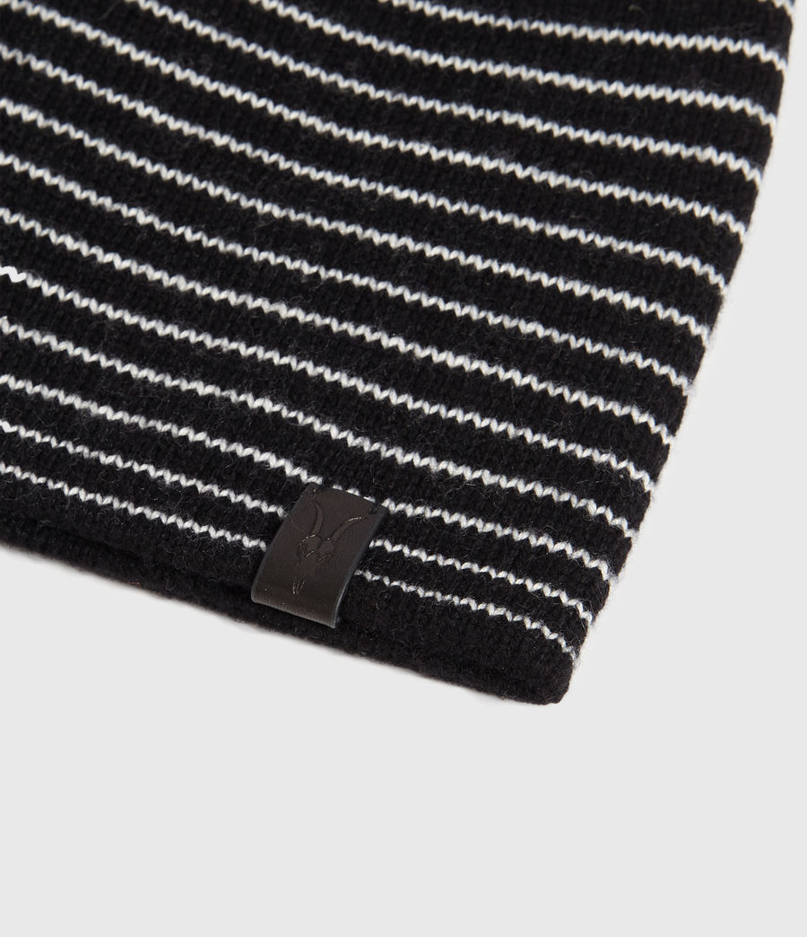 Mens Reversible Stripe Beanie (black_chalk) - Image 4