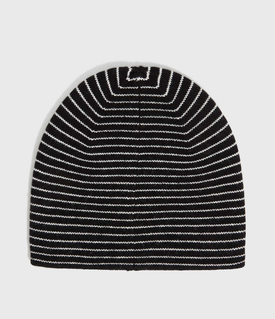 Mens Reversible Stripe Beanie (black_chalk) - Image 5