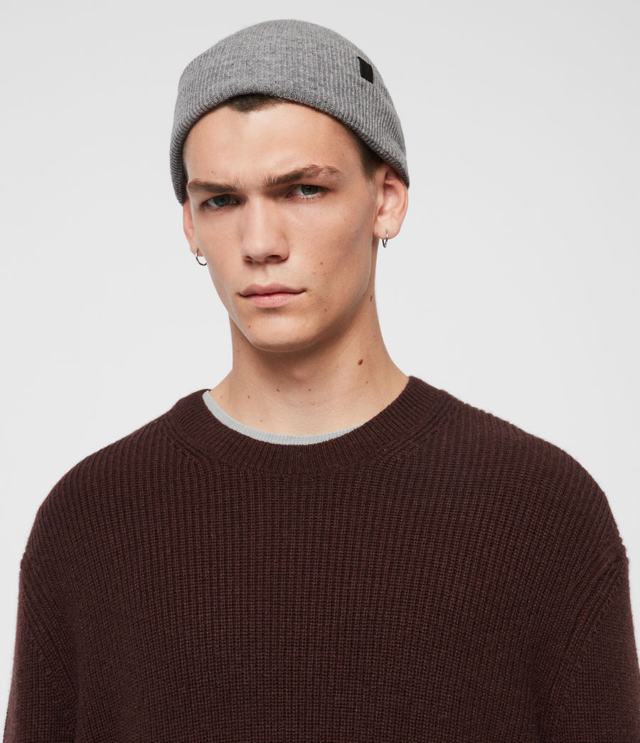 Mens Double Layer Beanie (cinder_black_marl) - Image 2