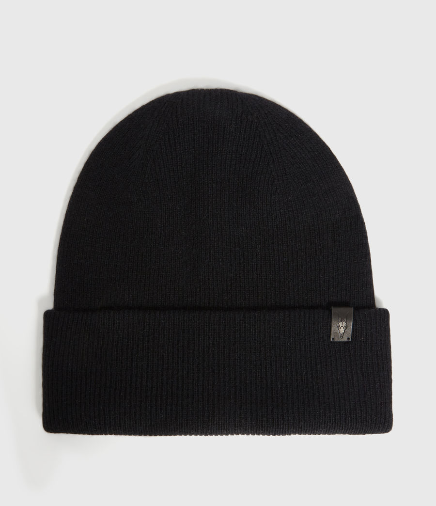 Hombres Double Layer Cashmere Blend Beanie (black) - Image 1