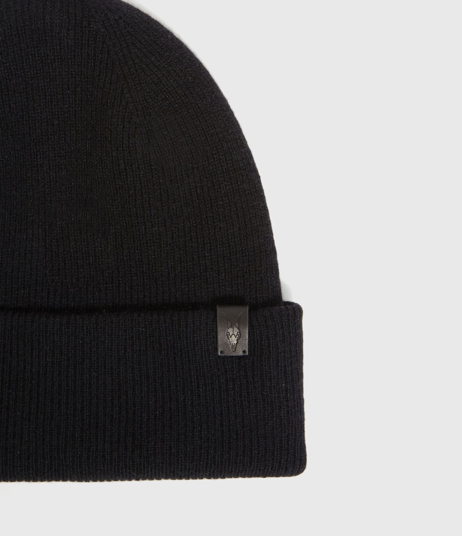 Hombres Double Layer Cashmere Blend Beanie (black) - Image 3