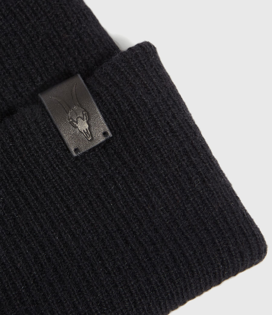 Hombres Double Layer Cashmere Blend Beanie (black) - Image 4