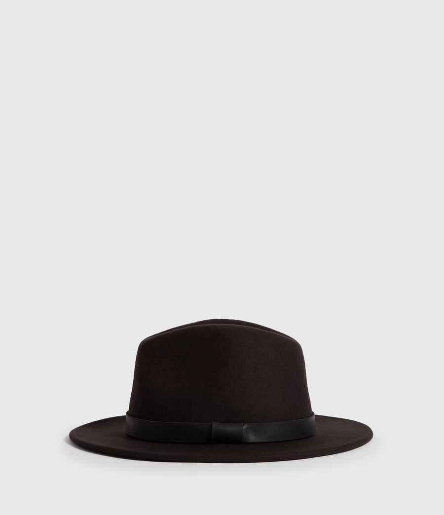 Mens Bronson Leather Fedora (bitter_brown) - Image 1