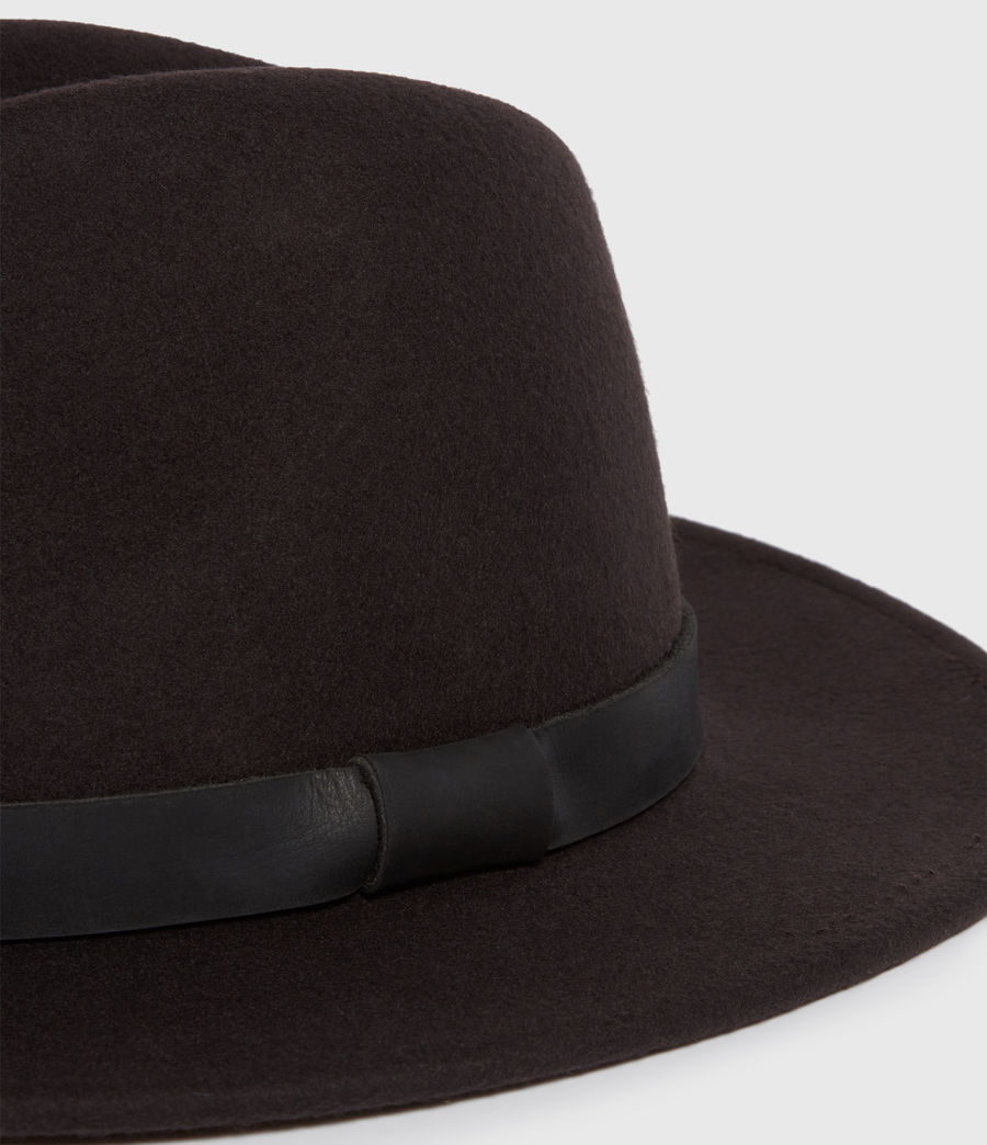 Mens Bronson Leather Fedora (bitter_brown) - Image 2