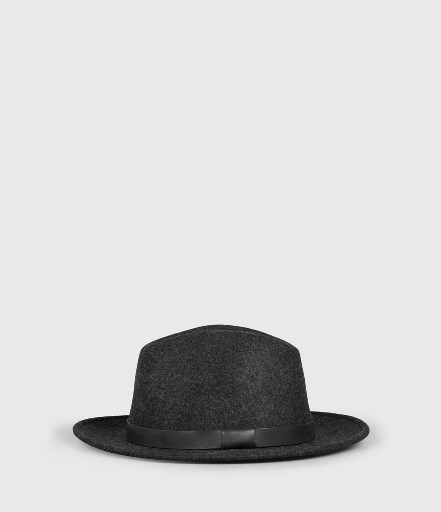 Mens Bronson Leather Fedora Hat (Charcoal) - Image 1