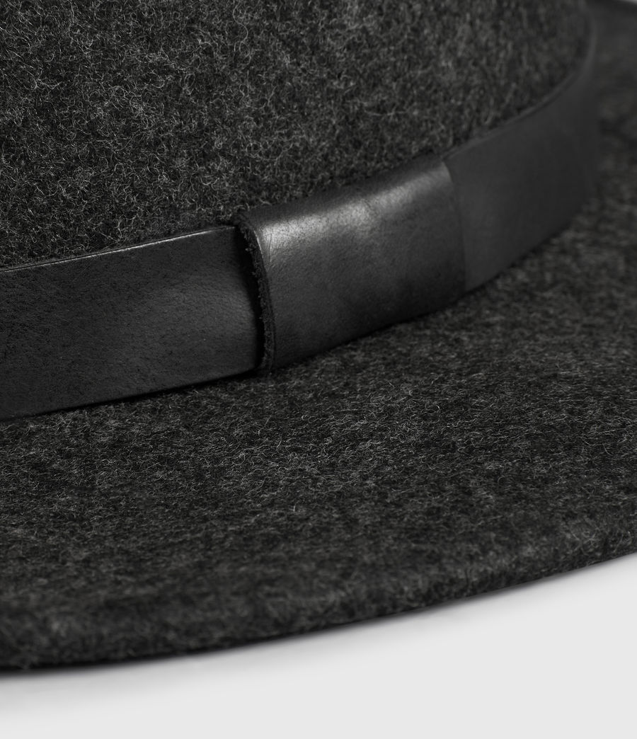 Mens Bronson Leather Fedora Hat (Charcoal) - Image 2