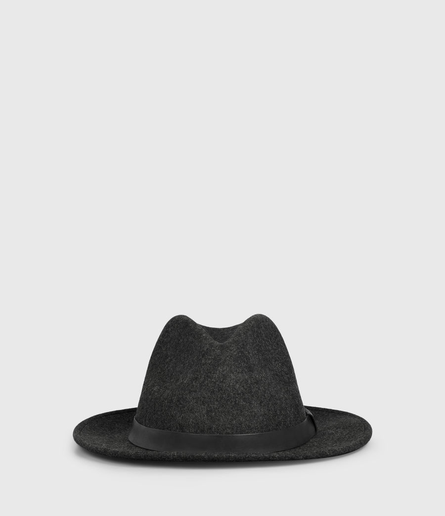 Mens Bronson Leather Fedora Hat (Charcoal) - Image 3