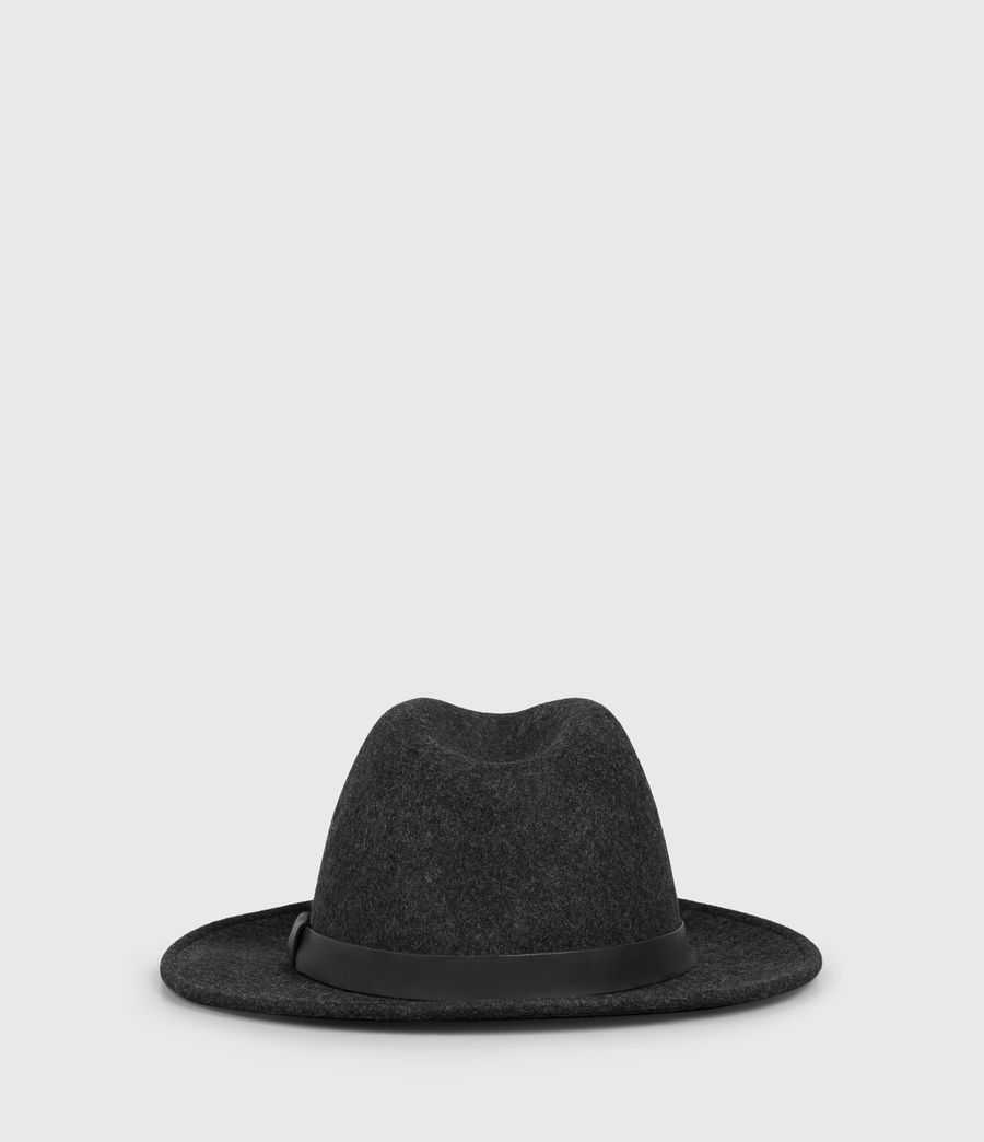 Mens Bronson Leather Fedora Hat (Charcoal) - Image 4