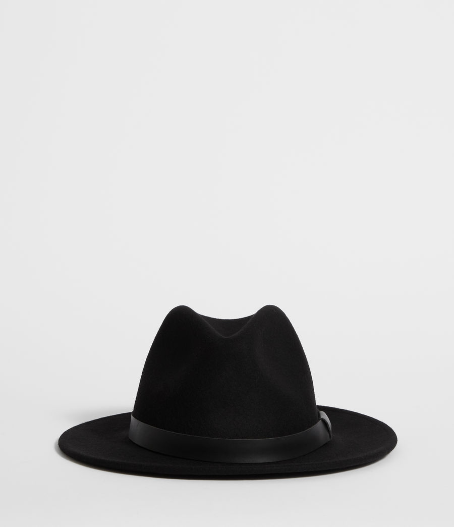 Men's Bronson Leather Fedora Hat (black) - Image 1