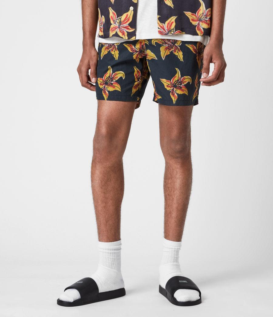 Mens Hibiscus Swim Shorts (black) - Image 1