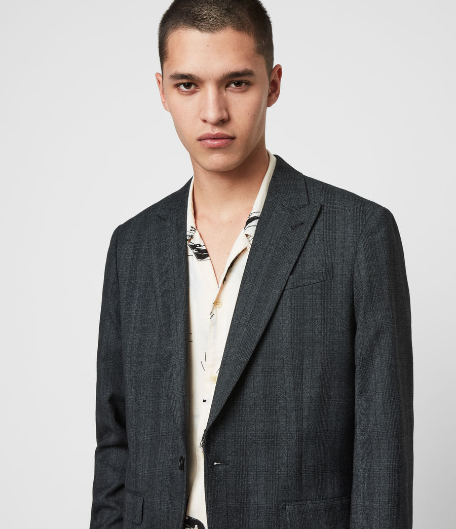 Mens Foxley Check Blazer (charcoal_grey) - Image 2