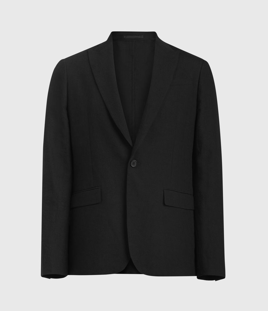 Men's Auroville Linen Blend Blazer (black) - Image 1