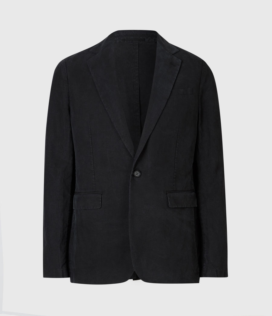 Mens Vaga Linen Blend Blazer (washed_black) - Image 3