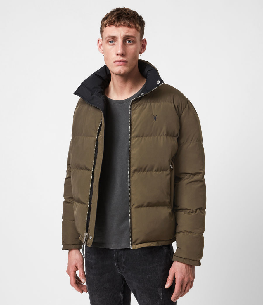 Men's Novern Reversible Ramskull Puffer Jacket (black_khaki) - Image 8