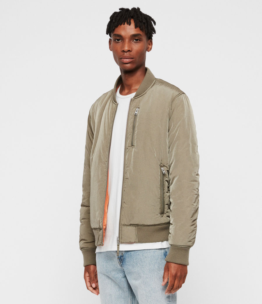 Mens Erskine Bomber Jacket (beech_green_orange) - Image 4