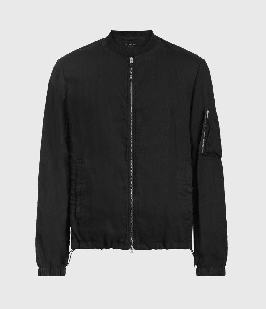 Hombre Borra Linen Bomber Jacket (black) - Image 1