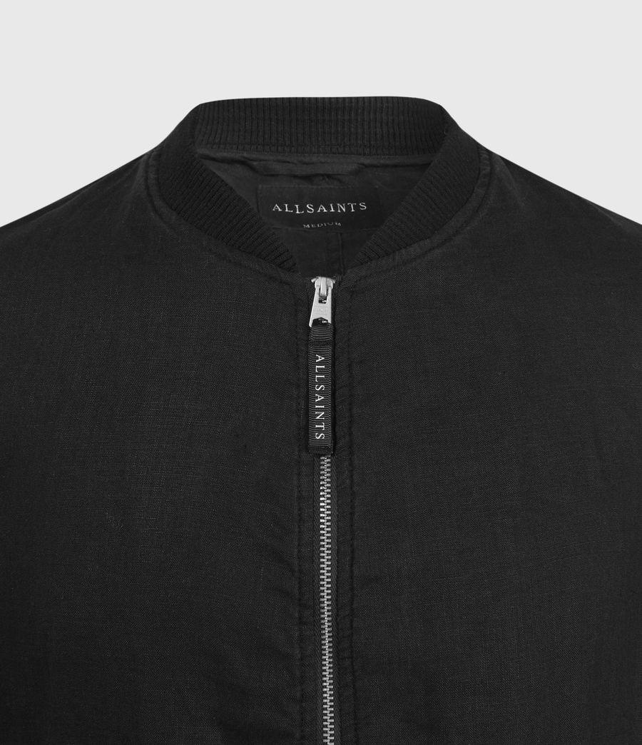 Hombre Borra Linen Bomber Jacket (black) - Image 3