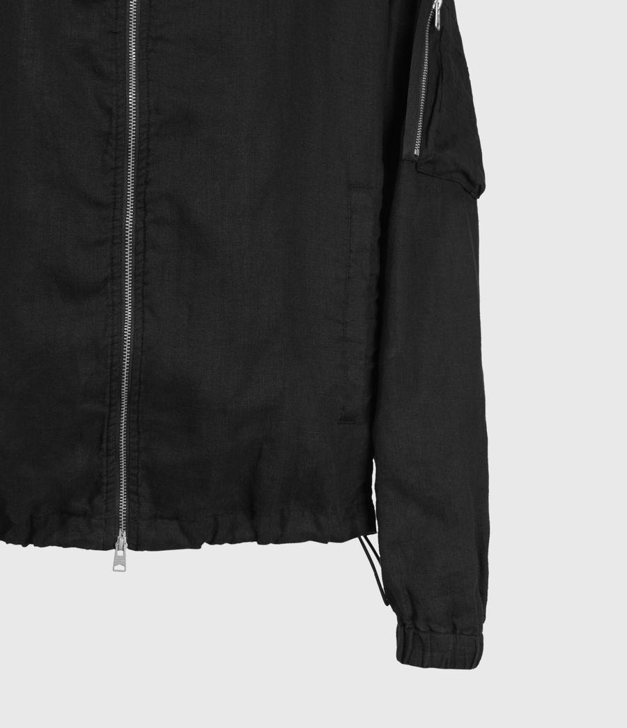 Hombre Borra Linen Bomber Jacket (black) - Image 4