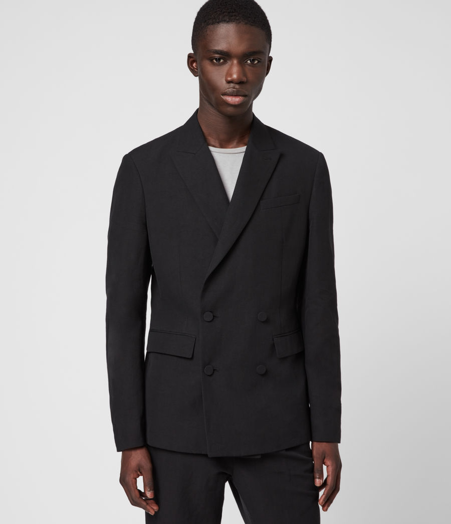 Men's Chiswell Linen Blend Blazer (black) - Image 4