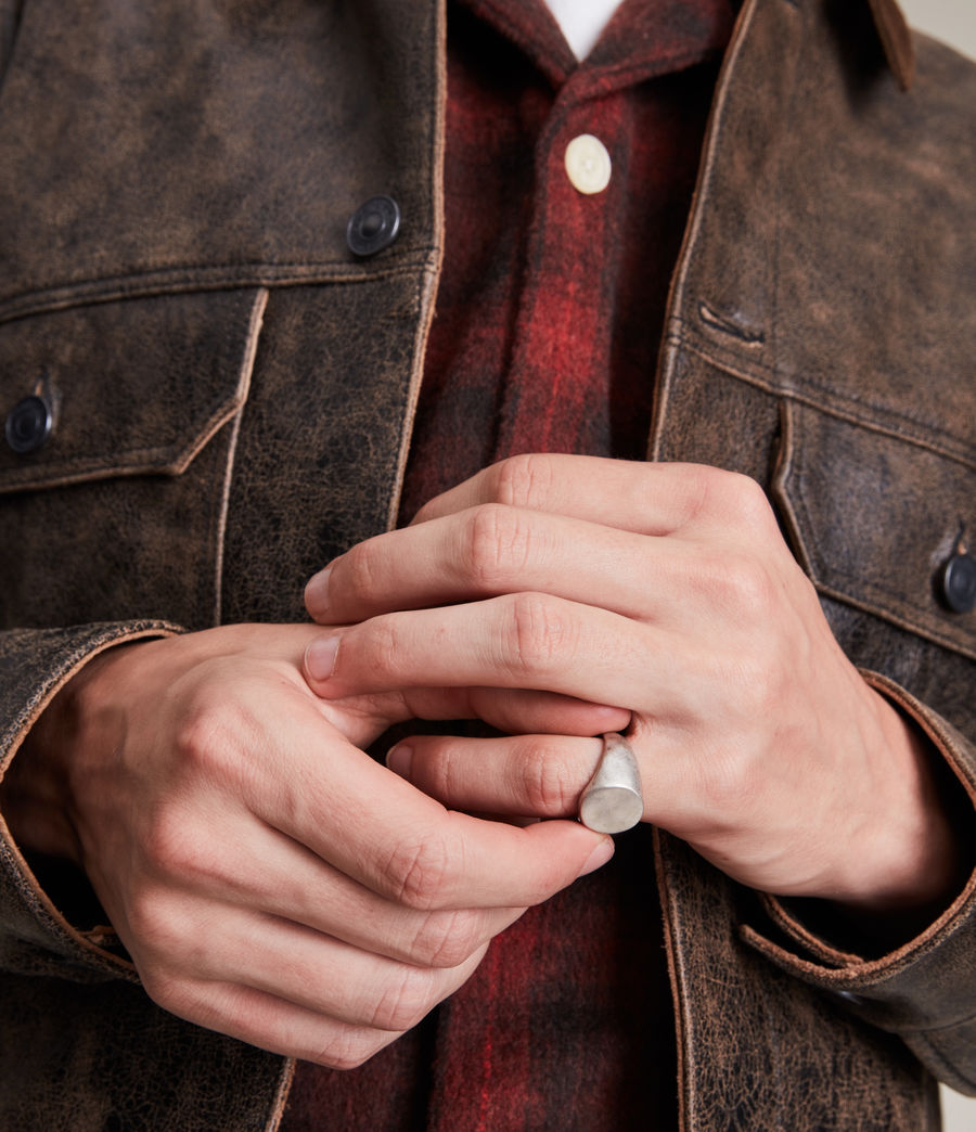 Men's Izaac Sterling Silver Ring (warm_silver) - Image 2