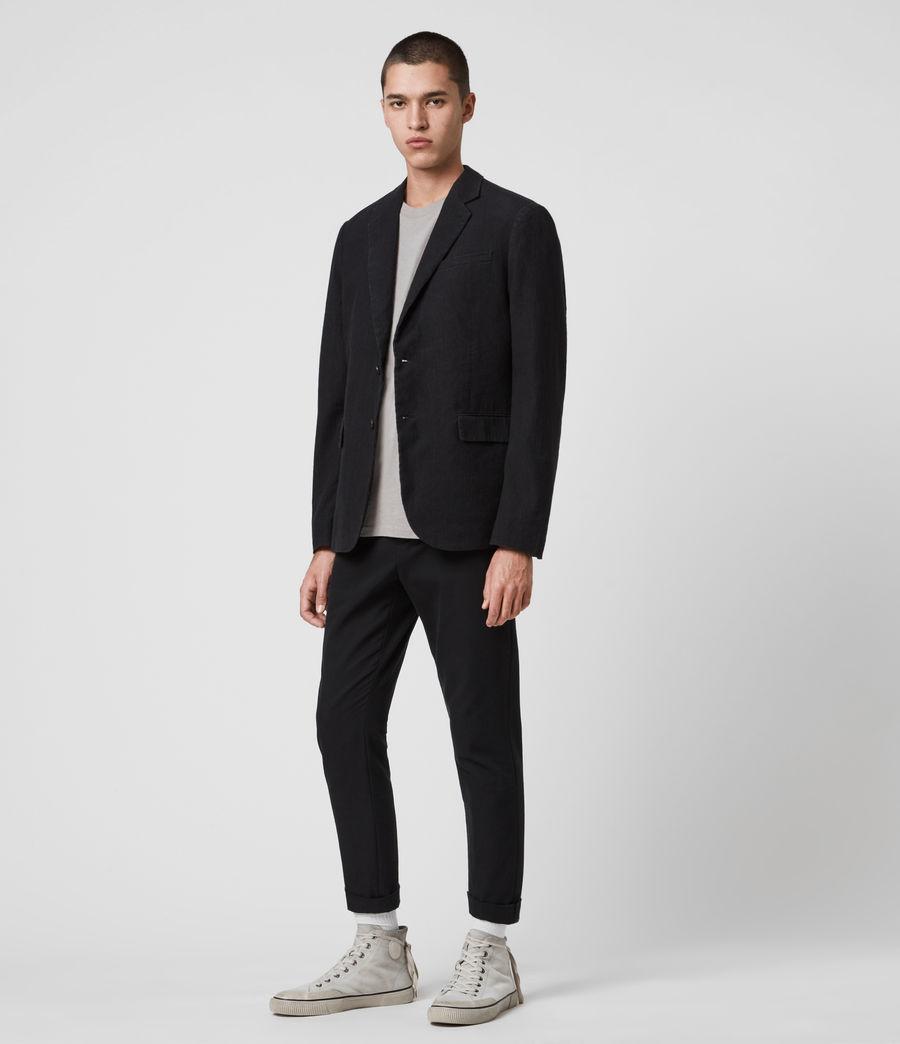 Mens Baron Linen Blend Blazer (black) - Image 4