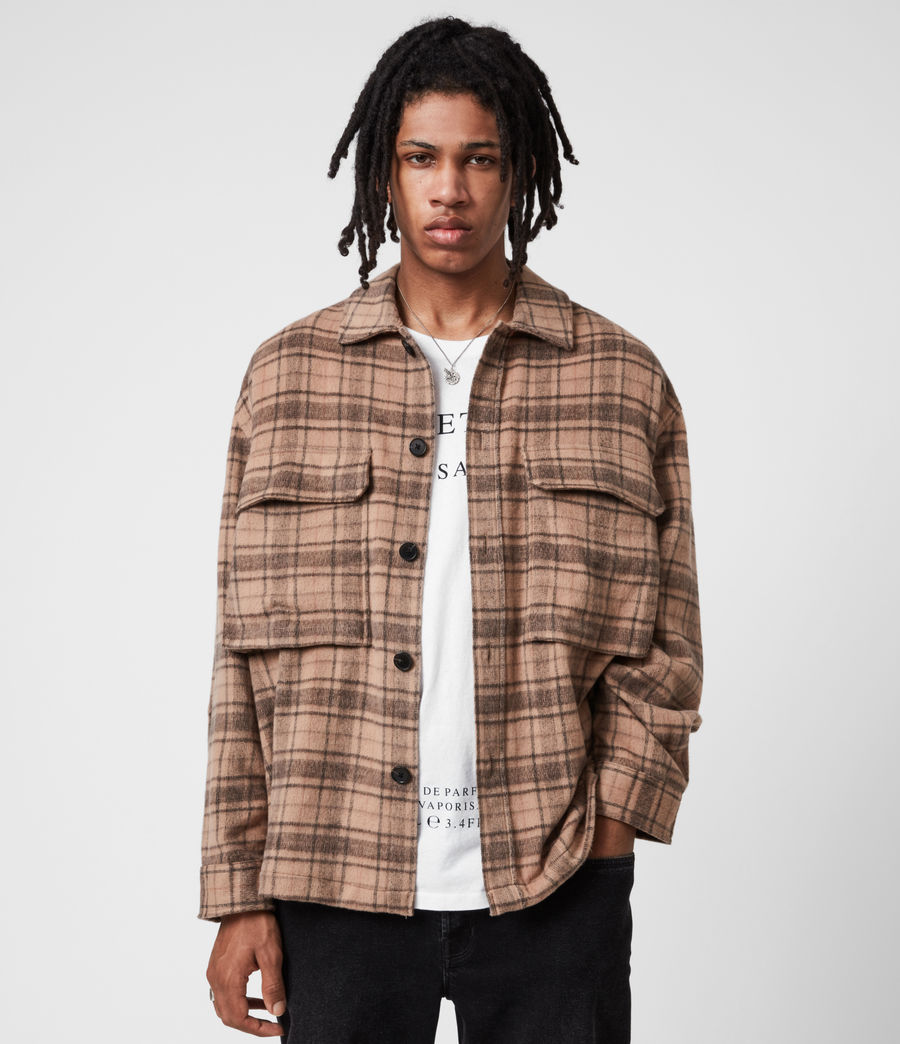 Mens Colton Check Shirt (sand) - Image 1