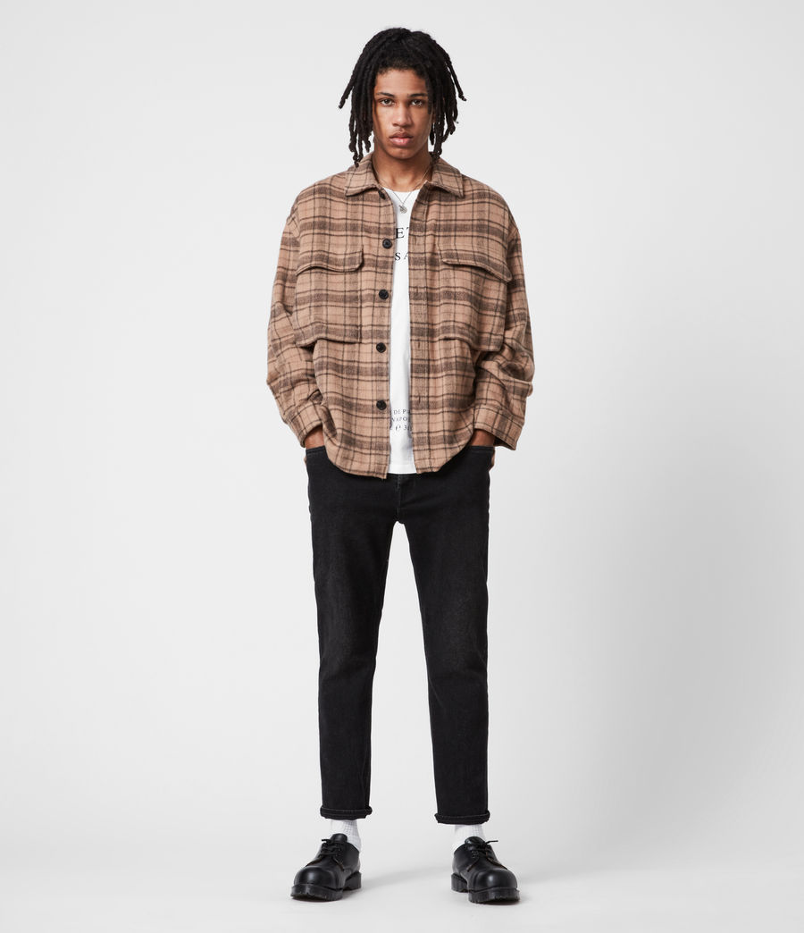 Mens Colton Check Shirt (sand) - Image 7