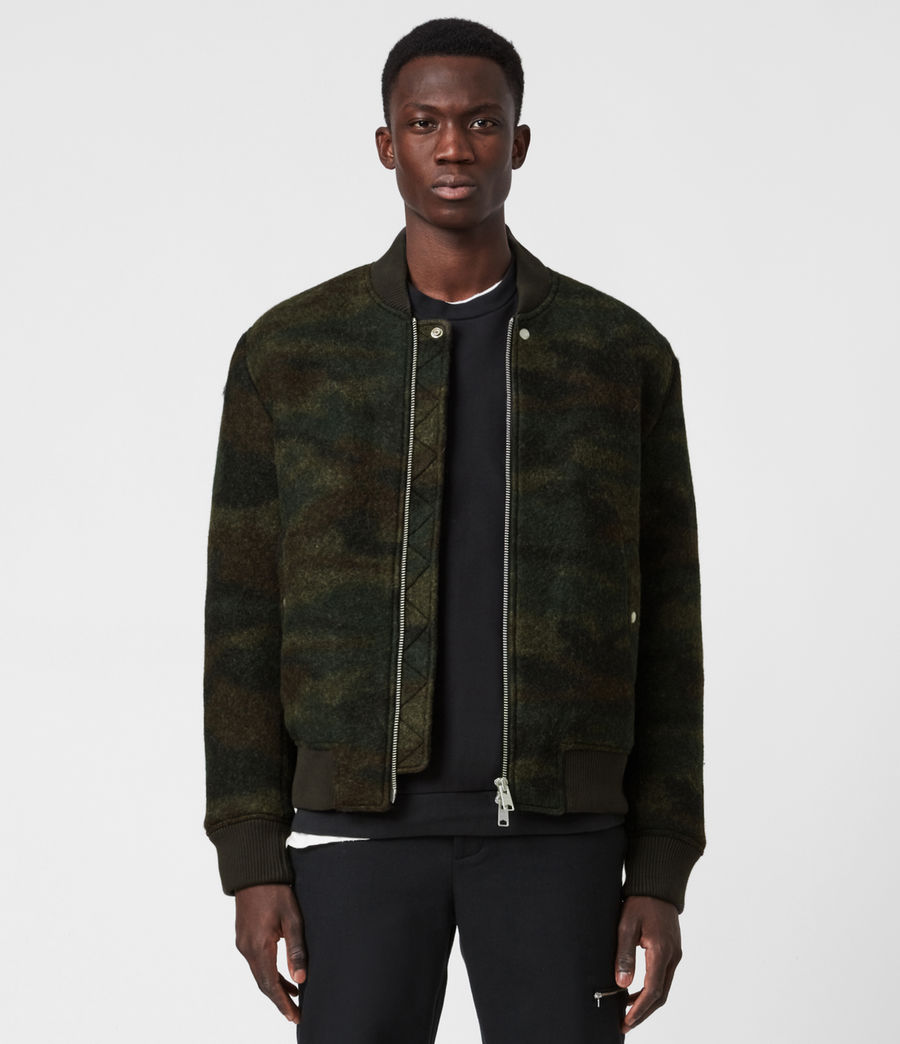 Men's Bastion Wool Blend Bomber Jacket (khaki_camo) - Image 1