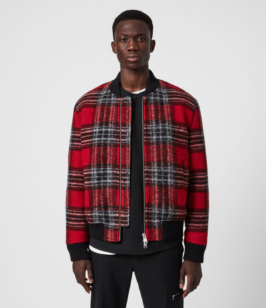 Men's Hare Wool Blend Bomber Jacket (red) - Image 1