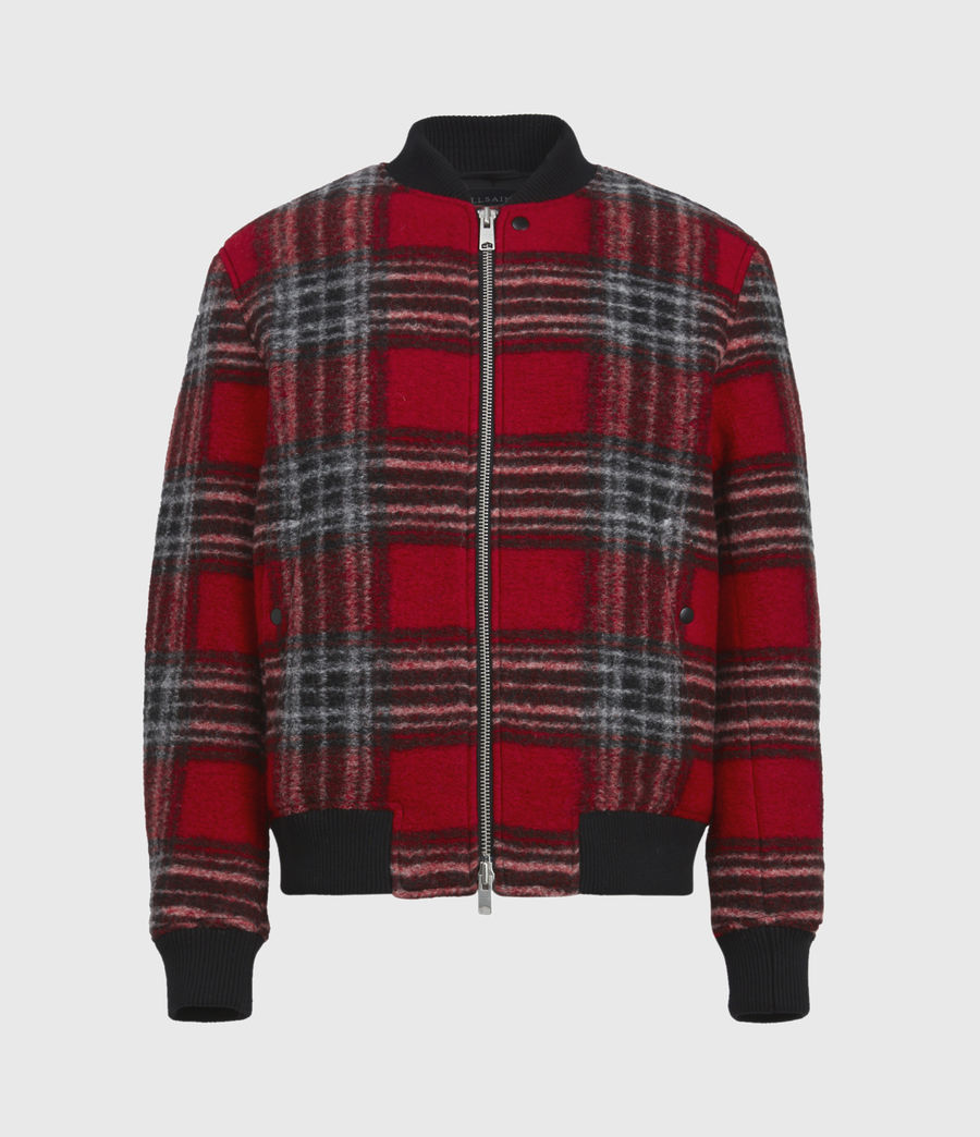 Men's Hare Wool Blend Bomber Jacket (red) - Image 2