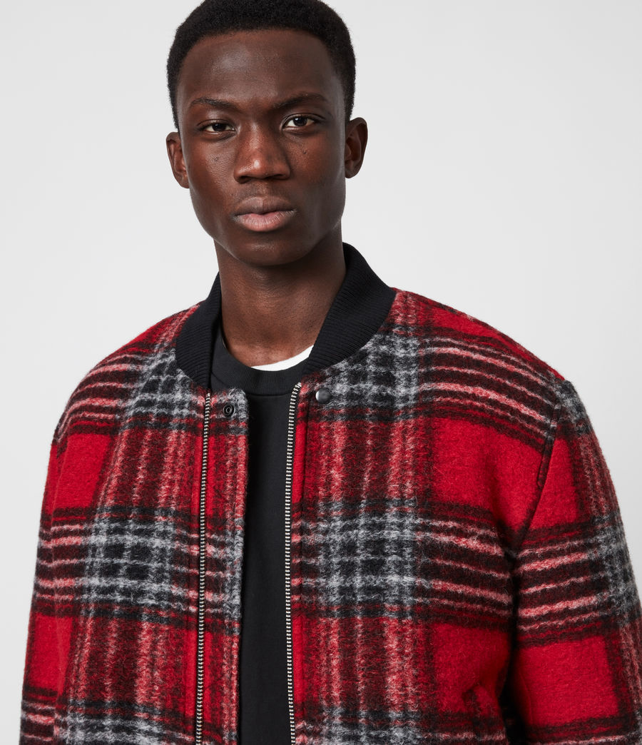 Men's Hare Wool Blend Bomber Jacket (red) - Image 4