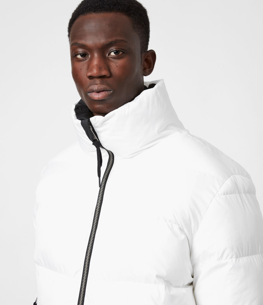 Men's Novem Reversible Puffer Coat (optic_white_black) - Image 4