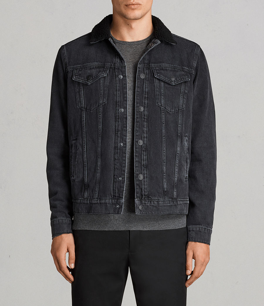 Mens Barred Denim Jacket (black) - Image 1