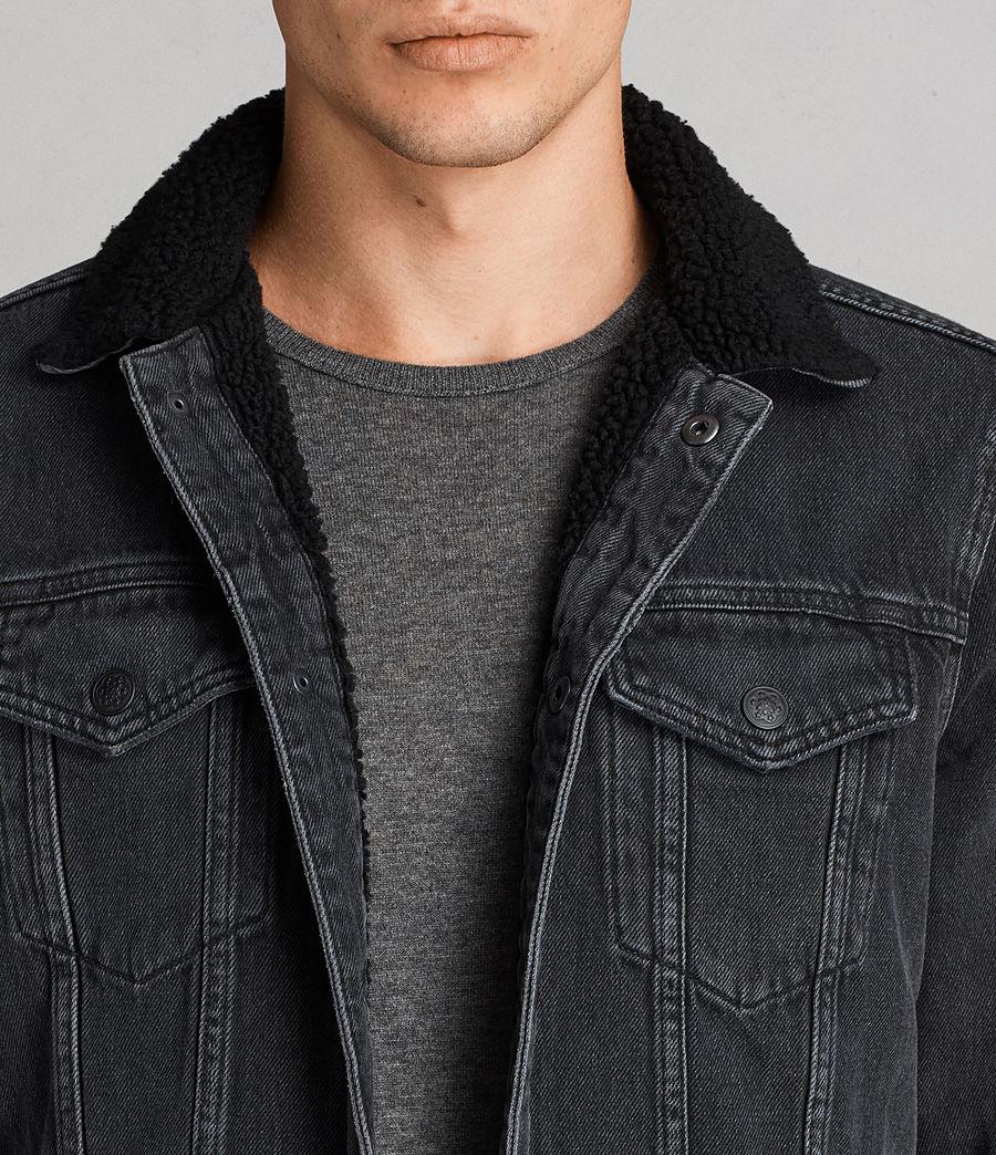 Mens Barred Denim Jacket (black) - Image 2