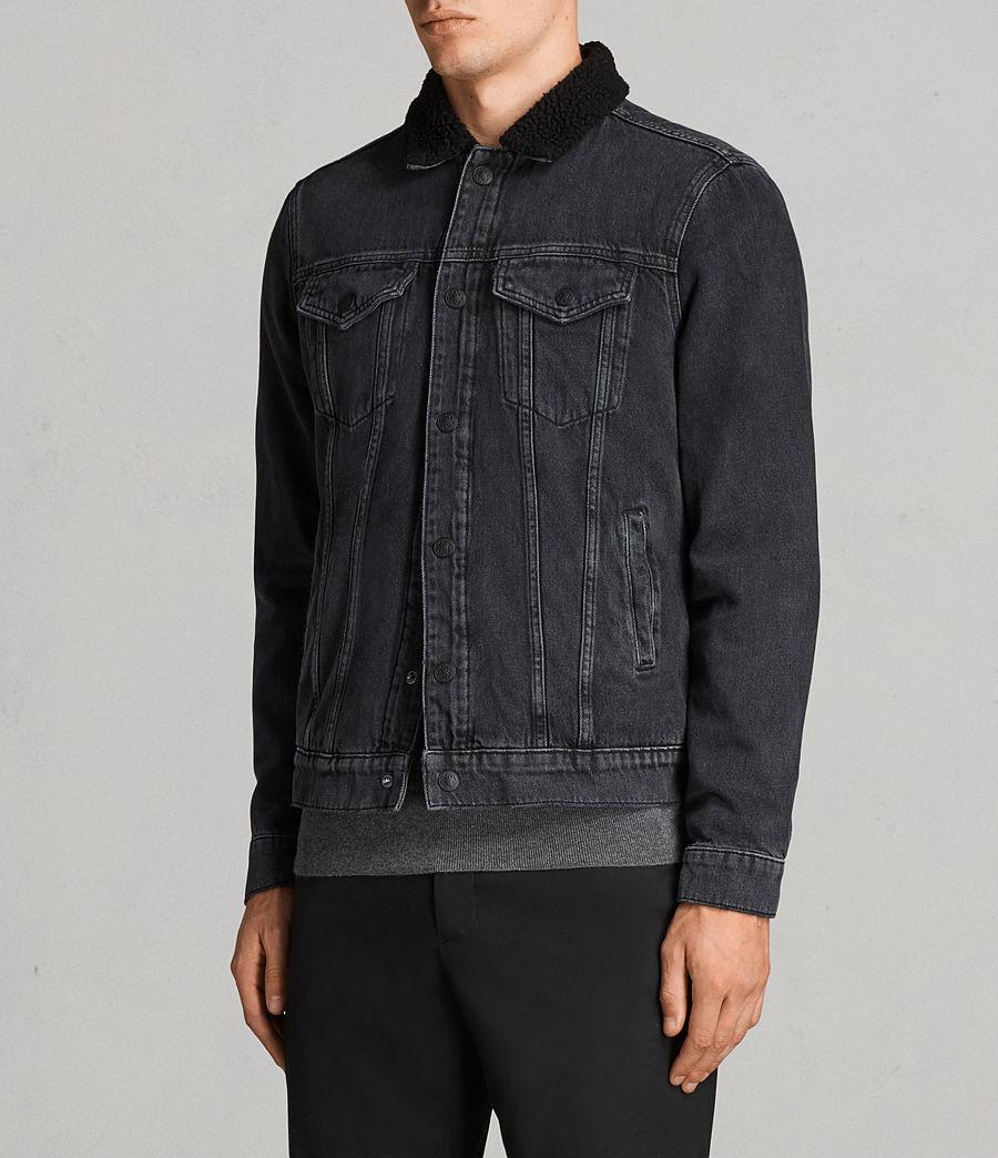 Mens Barred Denim Jacket (black) - Image 4