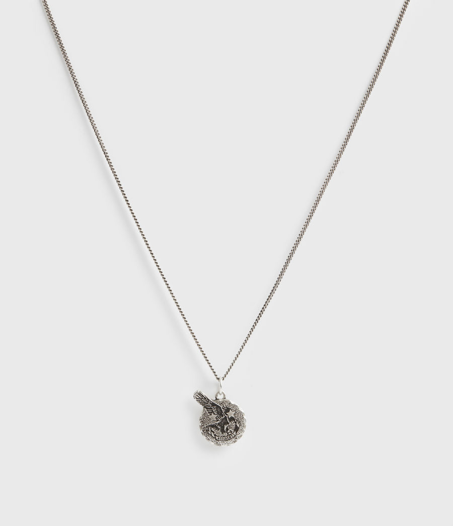 Mens Acid Eagle Pendant Sterling Silver Necklace (warm_silver) - Image 4