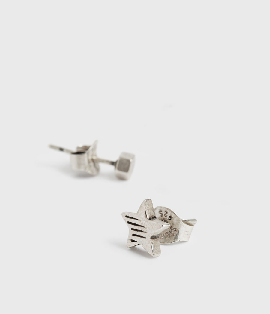 Mens Etch Sterling Silver Stud Earrings (warm_silver) - Image 1
