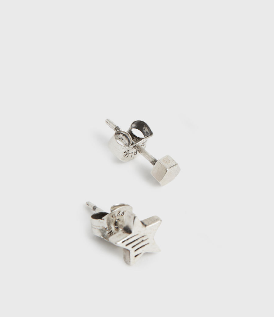 Mens Etch Sterling Silver Stud Earrings (warm_silver) - Image 3