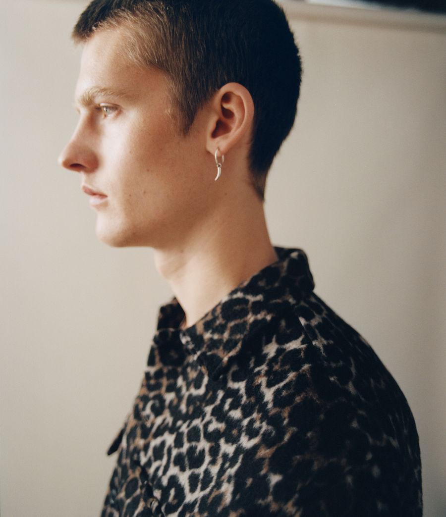 Men's Horn Sterling Silver Earring (warm_silver) - Image 2