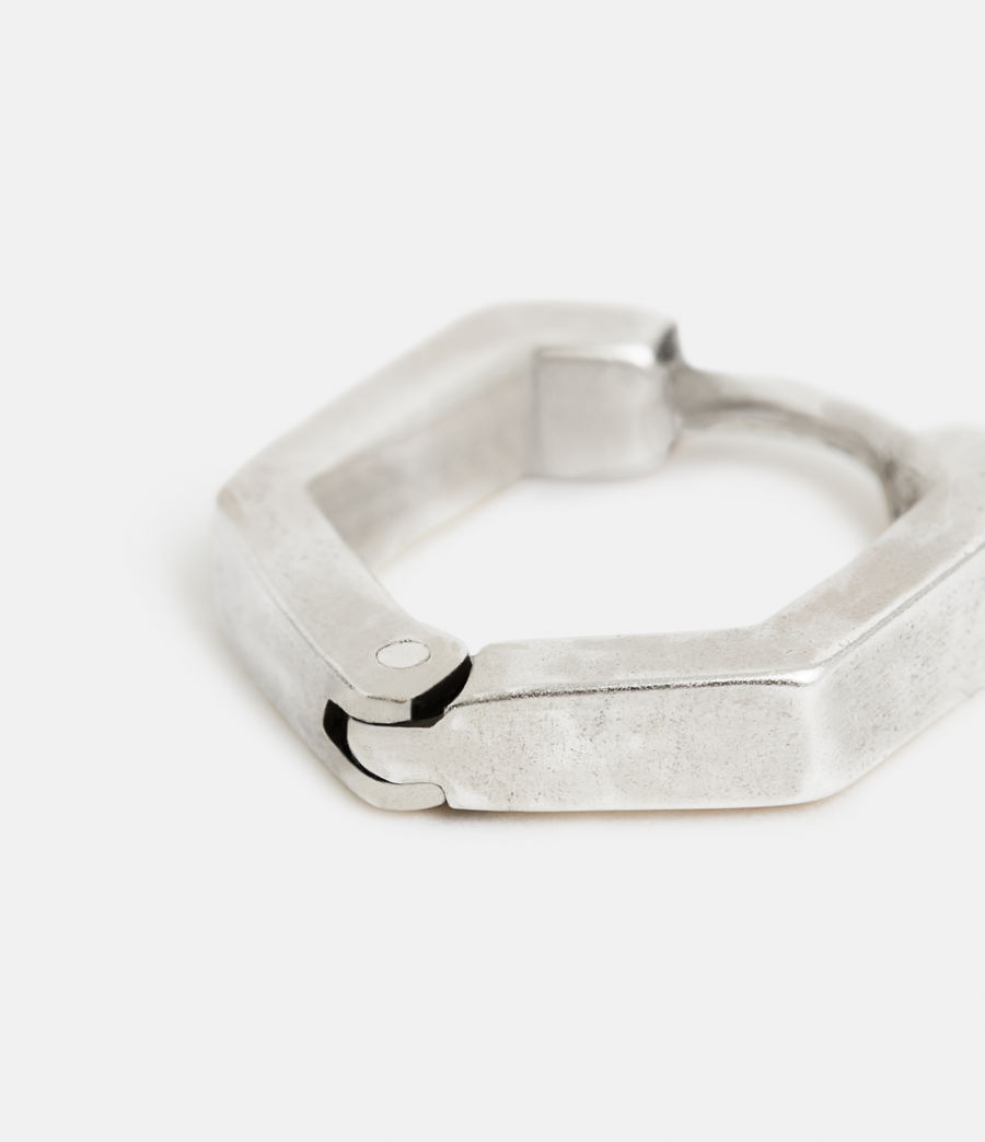 Men's Hex Sterling Silver Hoop (warm_silver) - Image 2