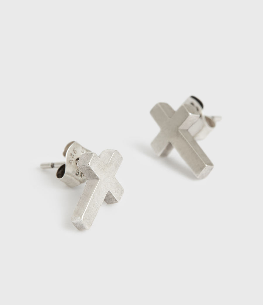 Men's Luc Sterling Silver Earrings (warm_silver) - Image 1
