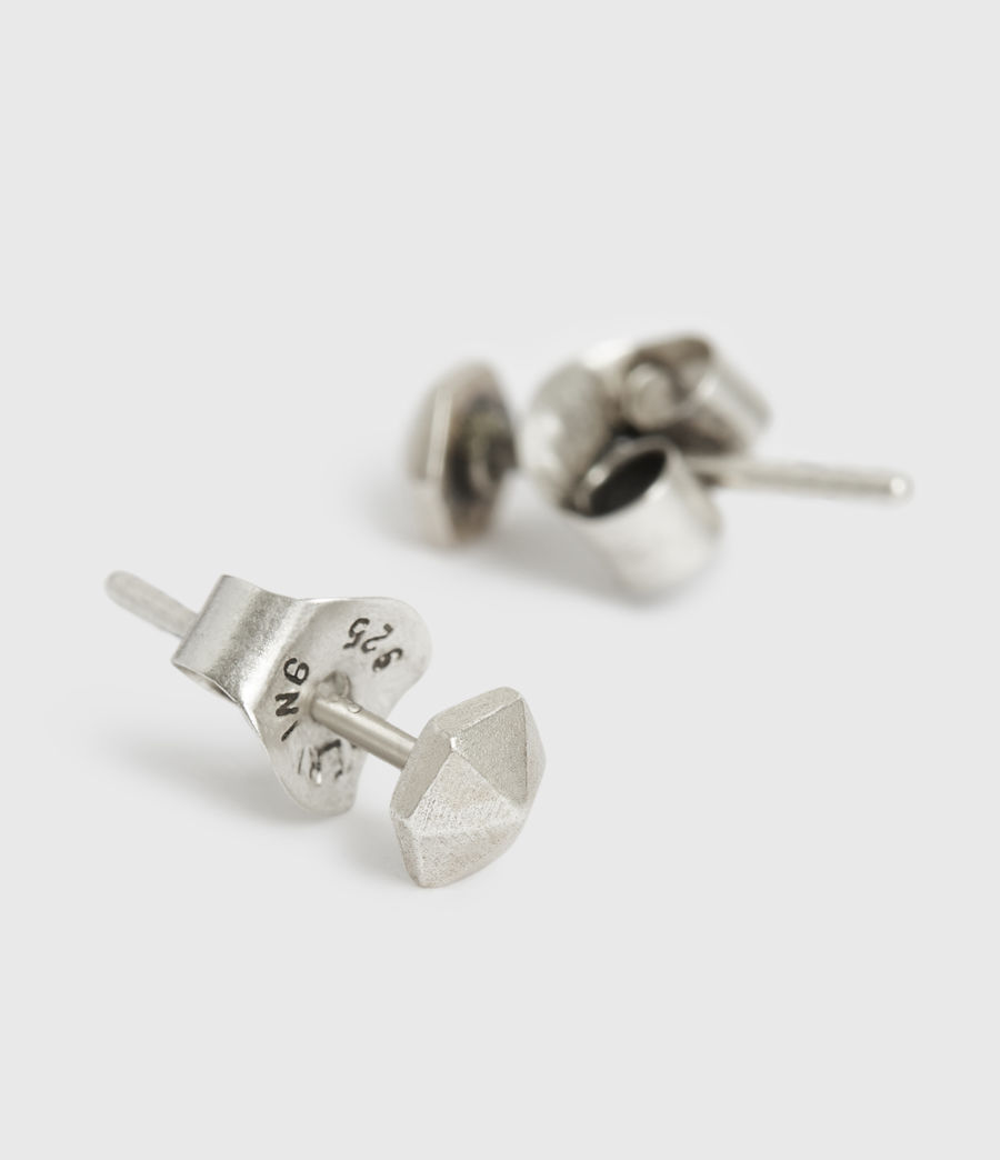 Men's Hexstud Sterling Silver Earrings (warm_silver) - Image 1