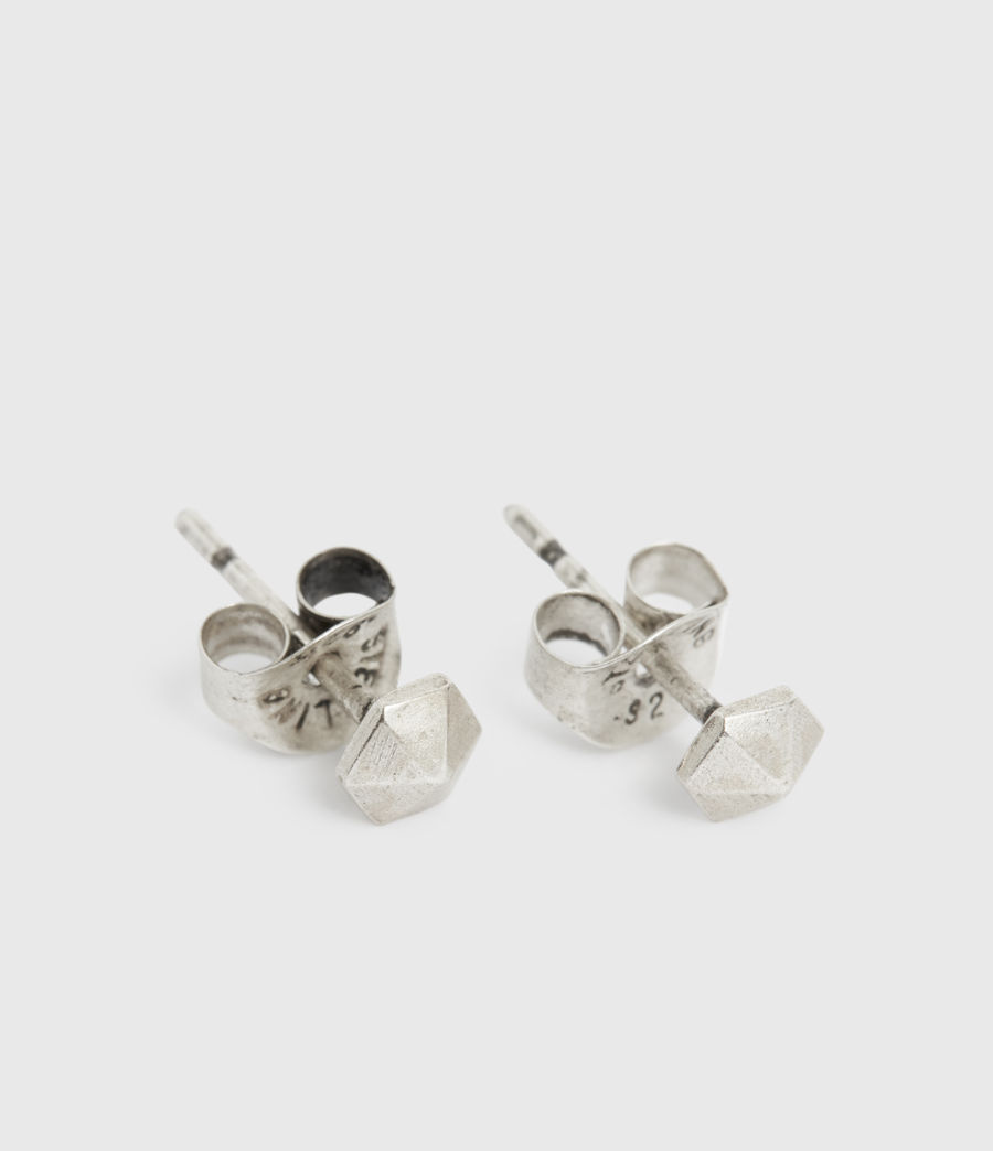 Men's Hexstud Sterling Silver Earrings (warm_silver) - Image 3