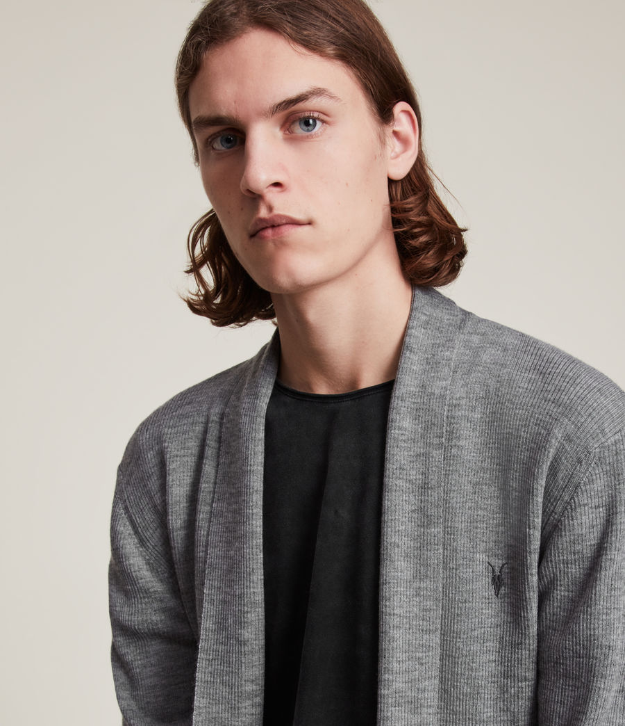 Mens Mode Merino Cardigan (grey_marl) - Image 1