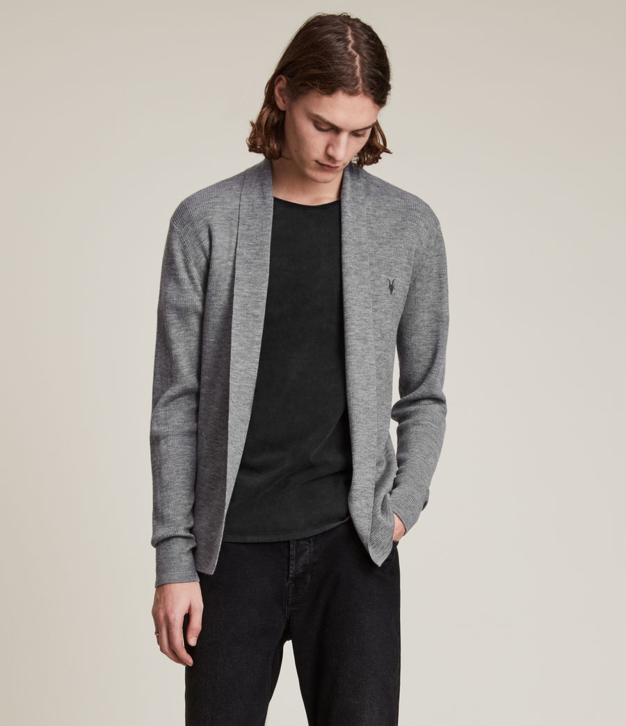 Herren Mode Merino Strickjacke (grey_marl) - Image 4