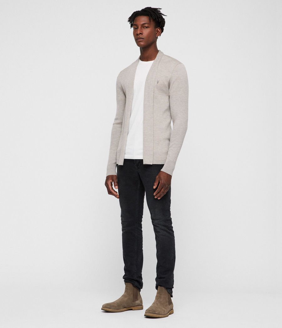 Mens Mode Merino Open Cardigan (oat_marl) - Image 1