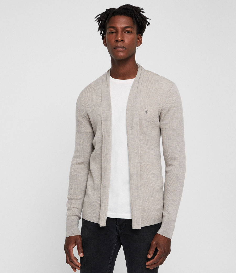 Mens Mode Merino Open Cardigan (oat_marl) - Image 3