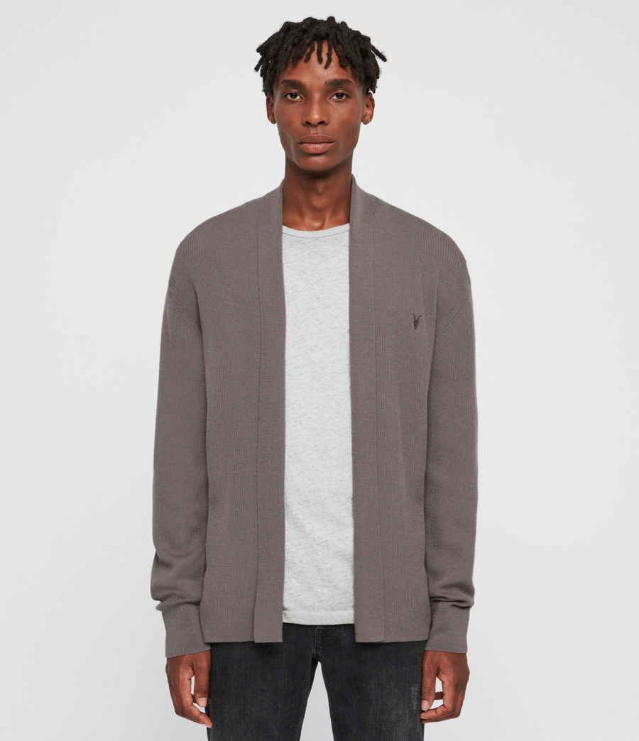 Mens Mode Merino Open Cardigan (engine_grey_marl) - Image 1